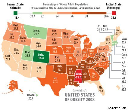 Our Future Looks Fat Study Predicts Nearly Half The US - Us half pop map